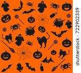 halloween symbols background | Shutterstock .eps vector #722902339