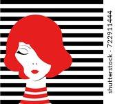 redhead fashion pop art girl on ... | Shutterstock .eps vector #722911444
