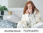 miserable woman sitting on the... | Shutterstock . vector #722916391