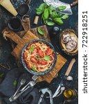 italian style pasta dinner.... | Shutterstock . vector #722918251