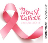 realistic pink ribbon  breast... | Shutterstock . vector #722923819