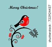 a bullfinch christmas card.... | Shutterstock .eps vector #722924437