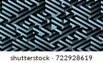 abstract minimal 3d labyrinth... | Shutterstock .eps vector #722928619
