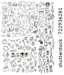 hand drawn food elements. set... | Shutterstock .eps vector #722936281
