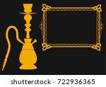 flat yellow hookah and arabic... | Shutterstock .eps vector #722936365