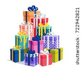 gift boxes with ribbon set... | Shutterstock .eps vector #722942821