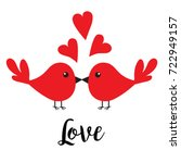 two kissing bird family couple. ... | Shutterstock . vector #722949157