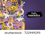 halloween background. holiday... | Shutterstock .eps vector #722949295