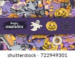 halloween background. holiday... | Shutterstock .eps vector #722949301