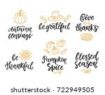 autumn and thanksgiving day... | Shutterstock .eps vector #722949505