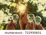 solar energy concept hand group ...   Shutterstock . vector #722950831