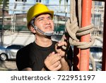 engineers are tying rope to... | Shutterstock . vector #722951197