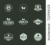 tea shop label and badge with... | Shutterstock .eps vector #722954125