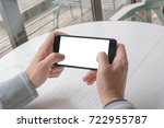 playing game on smart phone.... | Shutterstock . vector #722955787