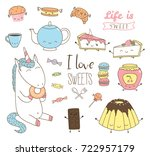 set of different hand drawn... | Shutterstock .eps vector #722957179