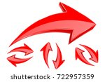 3d red arrows. set of shiny... | Shutterstock .eps vector #722957359