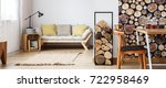 yellow pillows on beige sofa... | Shutterstock . vector #722958469