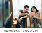asian students helping each... | Shutterstock . vector #722961754
