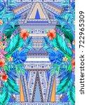 seamless graphical artistic... | Shutterstock . vector #722965309