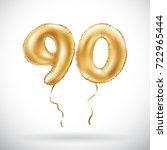 raster copy golden number 90... | Shutterstock . vector #722965444