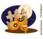 halloween pumpkins under the... | Shutterstock .eps vector #722968627