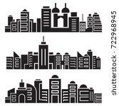 cityscape silhouette or city...   Shutterstock .eps vector #722968945