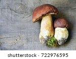 Boletus Edulis Mushrooms On Ol...
