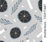 hand drawn vector seamless...   Shutterstock .eps vector #722977687