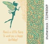 silhouette of little fairy with ... | Shutterstock .eps vector #722983069