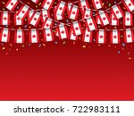 canadian flags garland red... | Shutterstock .eps vector #722983111