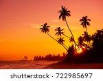 sunset on tropical beach | Shutterstock . vector #722985697