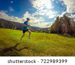 male athlete running in... | Shutterstock . vector #722989399