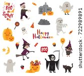 set of halloween design... | Shutterstock .eps vector #722989891