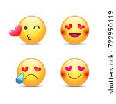 love emoticon vector set. cute...   Shutterstock .eps vector #722990119