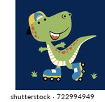 vector cartoon of dino play... | Shutterstock .eps vector #722994949