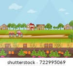 countryside village harvest... | Shutterstock .eps vector #722995069