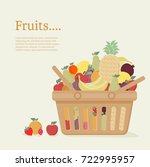 shopping basket and fruit ... | Shutterstock .eps vector #722995957