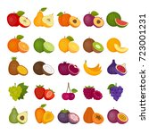 fruits and berries icons set.... | Shutterstock .eps vector #723001231
