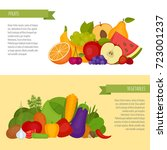 fruits and vegetables banner.... | Shutterstock .eps vector #723001237