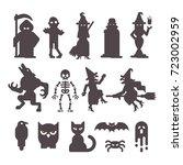 set of halloween character...   Shutterstock .eps vector #723002959