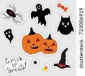 stickers for halloween. pumpkin ...   Shutterstock .eps vector #723006919