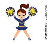 cheerleader in blue and yellow... | Shutterstock .eps vector #723009931