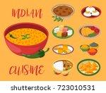 indian chicken jalfrezi with... | Shutterstock .eps vector #723010531