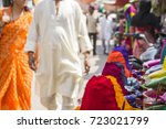 colorful tika powders on indian ... | Shutterstock . vector #723021799