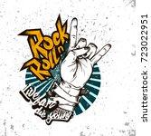 hand drawn rock festival poster.... | Shutterstock . vector #723022951
