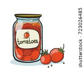canned tomatoes  vector... | Shutterstock .eps vector #723026485