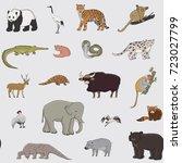 asian animals doodle graphic... | Shutterstock . vector #723027799