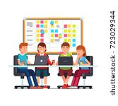 young team working together on... | Shutterstock .eps vector #723029344