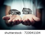 insurance house  car and ... | Shutterstock . vector #723041104