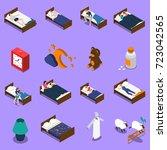 sleep time set of isometric... | Shutterstock .eps vector #723042565